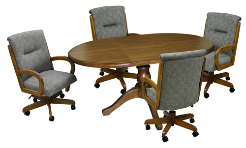 Oval Table 265 Caster Chairs