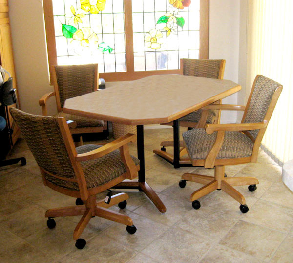 36 x 57 Table Mango Full Back Caster Chairs