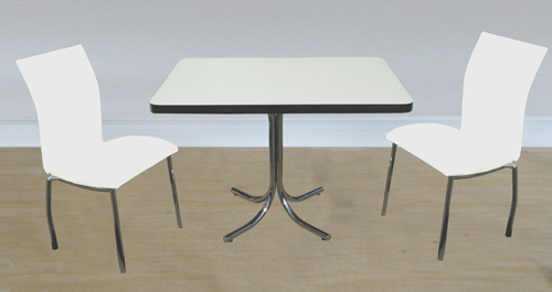 4067 White Chairs Formica Table