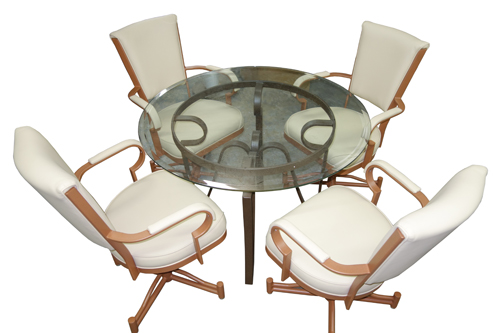 845N Casters Chairs Glass Dinette
