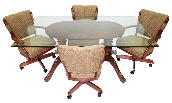 5 Piece Classic Caster Chairs Glass Table