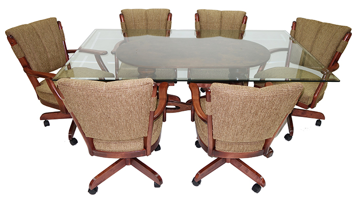 7 Piece Classic Caster Chairs Glass Table