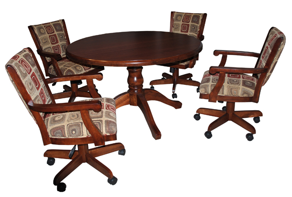 Coco Caster Chairs, Wood Table