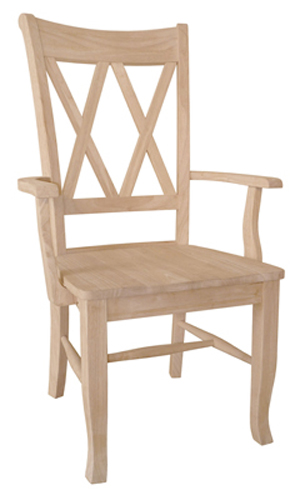 Double X Back Chair Wood Seat with Arms