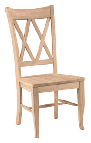 Double X Back Chair Wood Seat