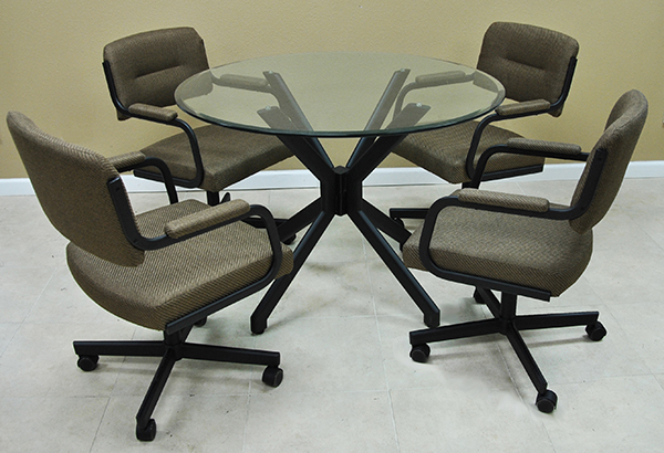 M-110 Caster Chairs 42 Glass Table
