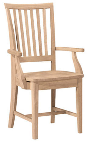 Mission Chair Wood Seat with Arms