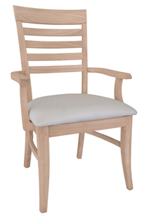 Roma Ladderback Chair Padded Seat with Arms