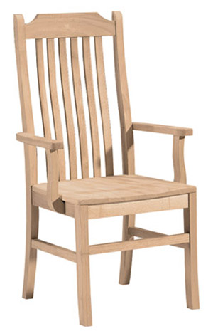 Tall Mission Chair Wood Seat with Arms