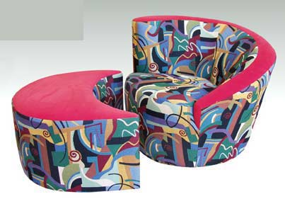 T-3055 Curved Chair and T-35 Round Ottoman